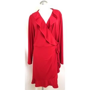 Fashion Bug Size 2X Red Wrap Dress Midi
